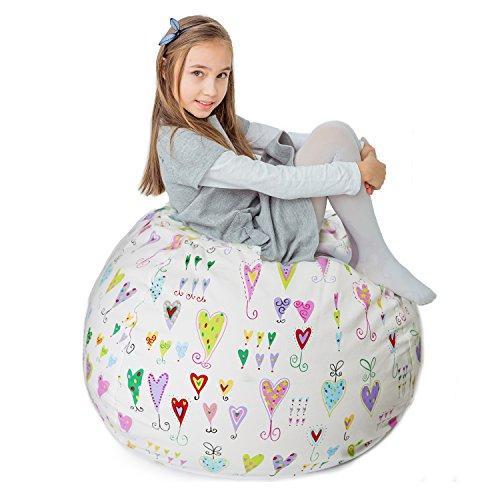 "(Stuffed Animal Storage Bean Bag XXL – 100% Cotton Canvas Plush Toy Organizing Bag, Machine Washable (38"",Hearts) Comfortable & Soft Seat for Nursery | Stylish Chair/Ottoman/Pouf for Boys & Girls)"
