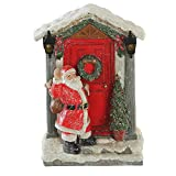 CEDAR HOME Santa Claus at The Door LED Table Decor Christmas Home Decoration with Light Up Figurine Holiday Gift, 6'' W x 3.5'' D x 9'' H