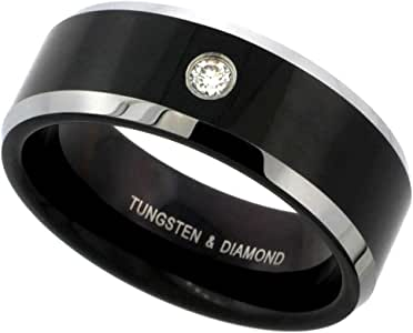 Sabrina Silver 8mm Black Tungsten 900 Diamond Wedding Ring 0.07 cttw Two-Tone Beveled Edges Comfort fit, Sizes 8 to 13