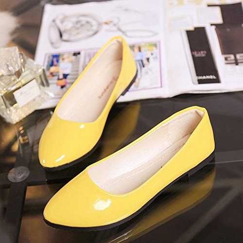 VULK Comfortable Women shoes flat bottom varnished leather shoes . B074KXP19Y 38 M EU|Yellow