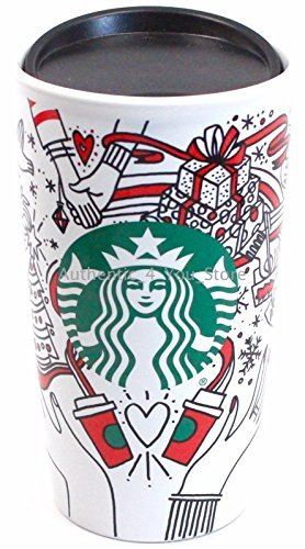 Starbucks 2017 Holiday Traveler Ceramic Red Cup (Coffee Cup Ornament)