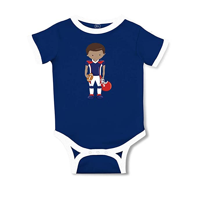 Amazon.com: Navy Boy Football B Taped Neck Boys-Girls Cotton Baby Soccer Bodysuit: Clothing
