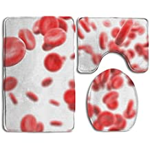 Rzymaesa Streaming Blood Cells Isolated On White D Render Illustration Bathroom Rug 3 Piece Bath Mat Set Contour Rug And Lid Cover