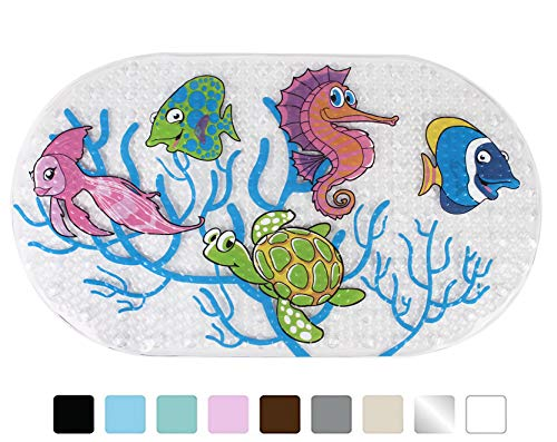 Yimobra Original Bath tub and Shower Mat for Kids Anti Bacterial,Phthalate Free,Latex and Machine Washable Cartoon Pattern Mats Materials,(Baby 27×15 Inch, Fish)
