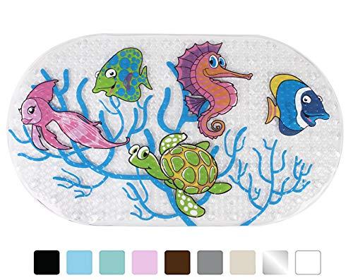 Yimobra Original Bath tub and Shower Mat for Kids Anti Bacterial,Phthalate Free,Latex and Machine Washable Cartoon Pattern Mats Materials,(Baby 27x15 Inch, Fish) by Yimobra