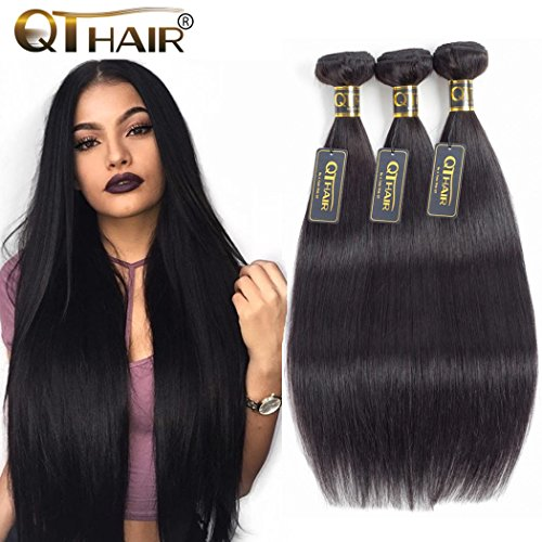 QTHAIR 10A Virgin Brazilian Straight Human Hair Extensions 3 Bundles (14 16 18 inch) Unprocessed Brazilian Virgin Hair Weave Bundles Natural Black Color