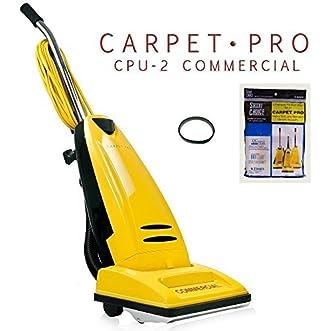 Carpet Pro CPU 2 Commercial Vacuum Cleaner + 3pk Upright Bags + CPU1/CPU2 Belt
