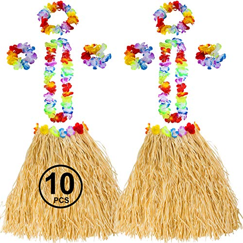Tigerdoe Luau Party Supplies - Coconut Cups - Flower Leis - Tiki Party - Hawaiian Costume - Hawaiian Party Decorations (10 Pc Hawaiian Costume)