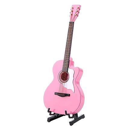GLOGLOW Réplica de Guitarra acústica en Miniatura de Color Rosa con ...