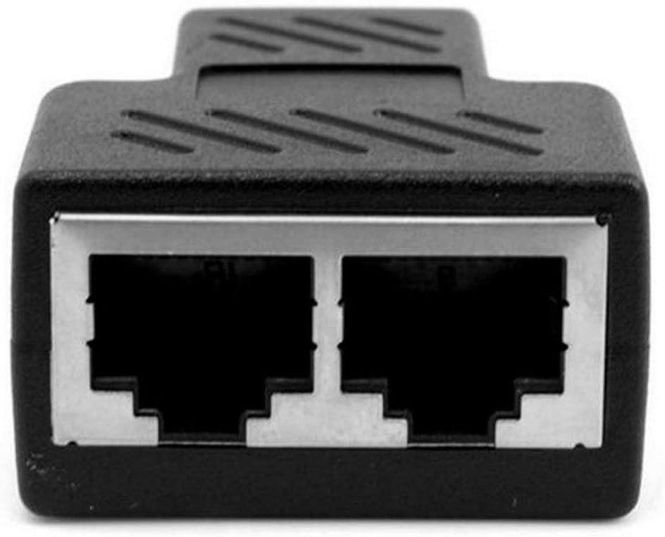 FEKETEUKI Práctico Adaptador de Separador RJ45 de 1 a 2 vías Cable Hembra Ethernet CAT5 / 6 LAN de Alto Rendimiento - Negro