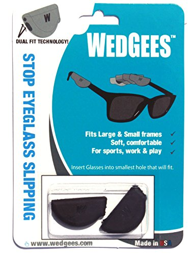 Wedgees Eyeglass Retainers, Dual fit Molded Black (4 +1) packs, 5 - Uneven Glasses
