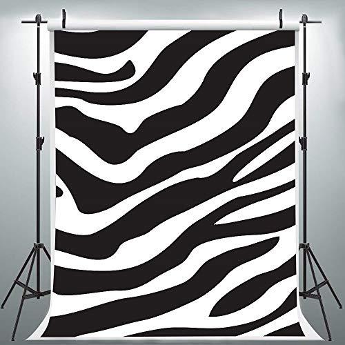 Zebra Pattern Backdrop for Photography, 5x7FT, Zebra Skin Print Black White Background, Stylish Makeup Party Photo Booth Props LYLU271