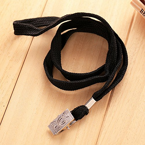 100pcs Black Blank Flat Nylon Neck Lanyards/Straps / Strings with Bulldog Badge Clip Attachment for Office ID Name Tags and Badge Holders
