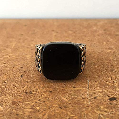 (Mens Onyx Ring Brilliant Flat Cushion Gemstone Ring Black Signet Ring Solid 925 Sterling Silver Ring Two Tone Ring Birthday Gift for Him father husband Fathers day gift Mens Onyx Ring)