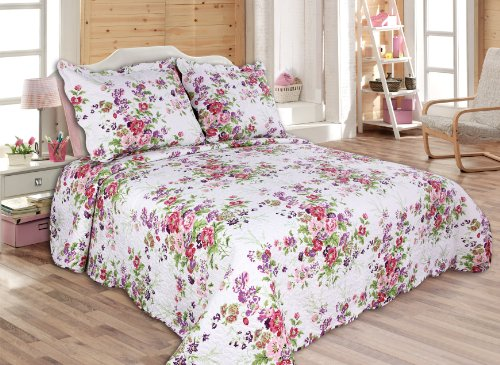 "ALL FOR YOU 3-piece Reversible coverlet, Quilt Set, bedpread, Full-Queen Size,86""x 86"", pink and purple flower -  100% soft microfiber face with 100% cotton fillings  Quilt Size 86"" L X 86"" W ( MEASURE BED, buy larger size if you like the quilt to drop more to bed sides)  Matched strips printed on the reversible back side - comforter-sets, bedroom-sheets-comforters, bedroom - 51mjdg8CZvL -"