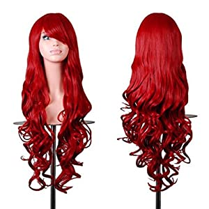 "Rbenxia Wigs 32"" Women Wig Long Hair Heat Resistant Spiral Curly Cosplay Wig Anime Fashion Wavy Curly Cosplay Daily Party Red at Gotham City Store"