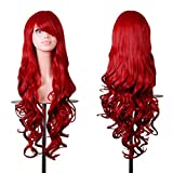 "Beauty : Rbenxia Wigs 32"" Women Wig Long Hair Heat Resistant Spiral Curly Cosplay Wig Anime Fashion Wavy Curly Cosplay Daily Party Red"