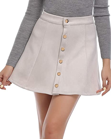 dc8e319f53 Argstar Women s Faux Suede Button Closure A-Line Mini Short Skirt ...