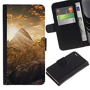 LECELL--Cuero de la tarjeta la carpeta del tirón Smartphone Slots Protección Holder For Apple Iphone 4 / 4S -- Montaña Cayon Amanecer --