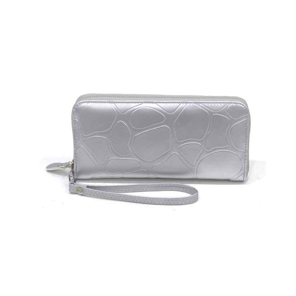 m-egalレディースPUレザーレザークラッチバッグストーンパターンジッパー長財布カードホルダーPU leatherrse B073RHVXLJ シルバー シルバー