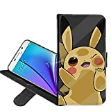 Samsung Galaxy S7 Edge Case, Pikachu Pokemon PU Leather Folio Flip Wallet Case Cover with ID Credit Card Holder with Stand for Samsung Galaxy S7 Edge + Thewart_Eight® Stylus Pen (#007)