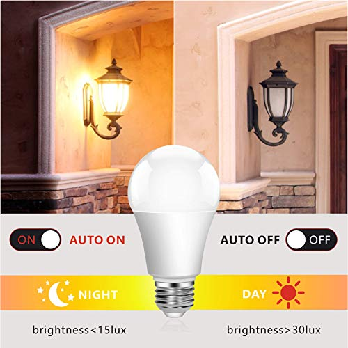 Boxlood Dusk to Dawn Light Bulbs,Built-in Photocell Light Sensor,Automatic On/Off,E26 Base 9W 60W Equivalent,AC100-240V,3000K Warm White,Indoor/Outdoor Sensor LED Bulb for Yard Entrance Porch 4Pack