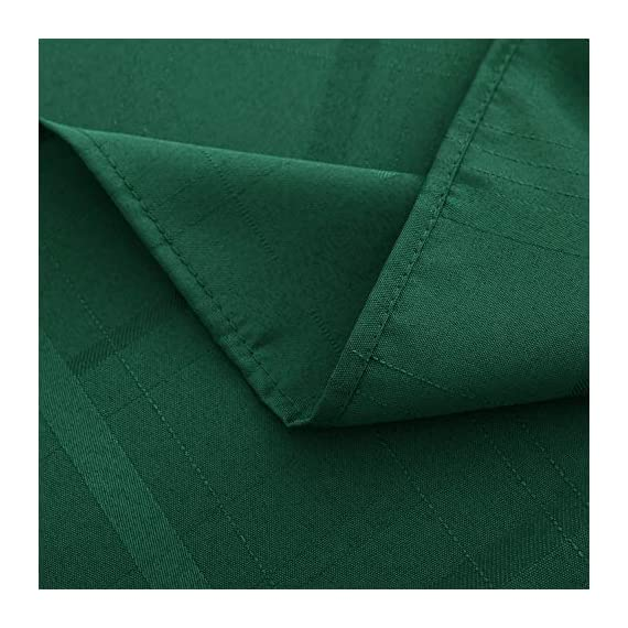VEEYOO Rectangle Spillproof Table Cloth - 60 x 102 Inch Green Striped Tablecloth in Washable Polyester - Stain Resistant Wrinkle Free Tablecloth for Dinner Party Restaurant - 100% Polyester Fabric Tablecloth. Made of high quality material, these table cloth are soft touch, also they're stain and wrinkle resistant for home indoor and outdoor use. Elegance Plaid Table Cloth. Special design with jacquard lines makes these tablecloths more textured, beautiful and simple. Also the Hemmed edges checkered tablecloths are perfect for Bridal Shower, Banquet. Spillproof Tablecloth. All liquids/spills bead up for an easy clean with sponge or napkins. Also, these waterproof table covers are not fade. Machine washable, no bleach, gentle cycle and no iron, easy care for daily use. - tablecloths, kitchen-dining-room-table-linens, kitchen-dining-room - 51mjel slOL. SS570  -