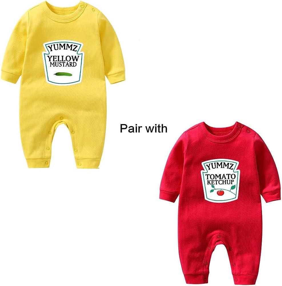 culbutomind Yummz Tomate Ketchup Amarillo Mostaza Rojo y Amarillo Body Bebé Gemelos Ropa Bebé Gemelas Bebé Niños Niñas