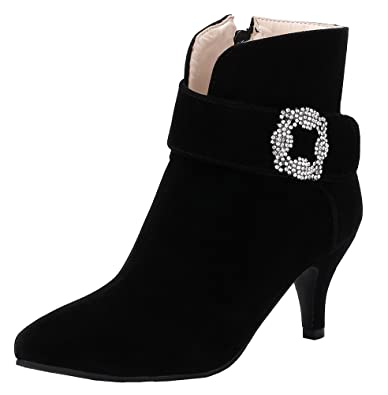 Women's Stylish Dress Buckle Rhinestone Kitten Heels Boots With Zipper