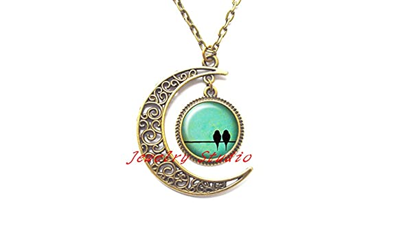 looking turquoise sky Locket Necklace clip-HZ00325 silver Locket Necklace jewelry Small bird on the wire couple bird