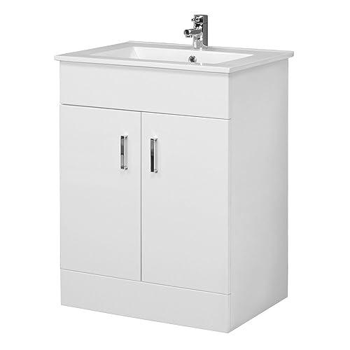 VeeBath Sphinx Minimalist 600mm White Gloss Vanity Unit With Ceramic Basin Sink - Bathroom Storage Unit Furniture Cabinet