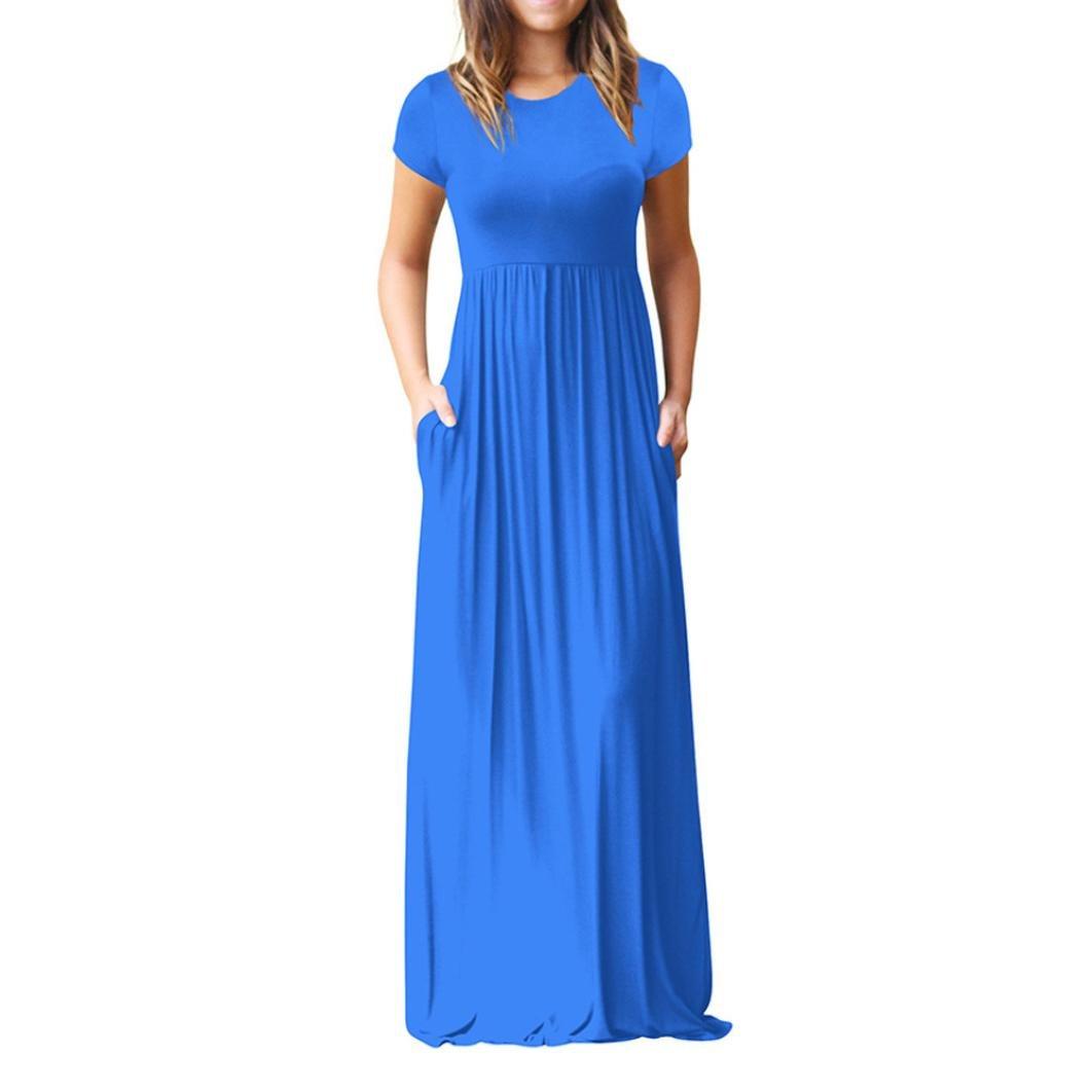 Vestidos Mujer Casual Largos Verano, Venmo Las Mujeres O-Cuello de los Bolsillos Casuales Manga Corta Piso Vestido de Fiesta Vestido Suelto Largos: ...