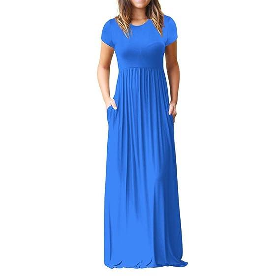 Vestidos Mujer Casual Largos Verano,Venmo Las Mujeres O-Cuello de los Bolsillos Casuales