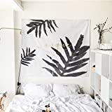 New Arrival Simple Style Black & White Element Leaf Pattern with Letter Tapestry Wall Hanging,Wall Art,Tablecloth,Beach Throw,51inchx60inch