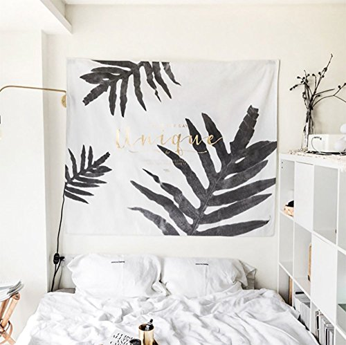 New Arrival Simple Style Black & White Element Leaf Pattern with Letter Tapestry Wall Hanging,Wall Art,Tablecloth,Beach (Black Leaf Pattern)