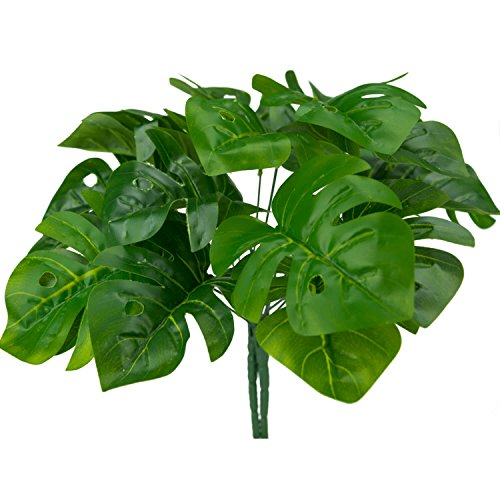 Tropical Leaves Monstera Artificial Plants Palm Green Single Leaf for Home Kitchen Party Decorations 2 Pcs (Banana Decoration Stem)