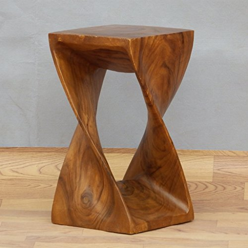 Southeast Asian Solid Wood Stool, Hand-Made Solid Wood Abstract Three-Dimensional Sofa Stool Flower Stand Stool, Teak Carved Stool Chair (28 28 50CM)