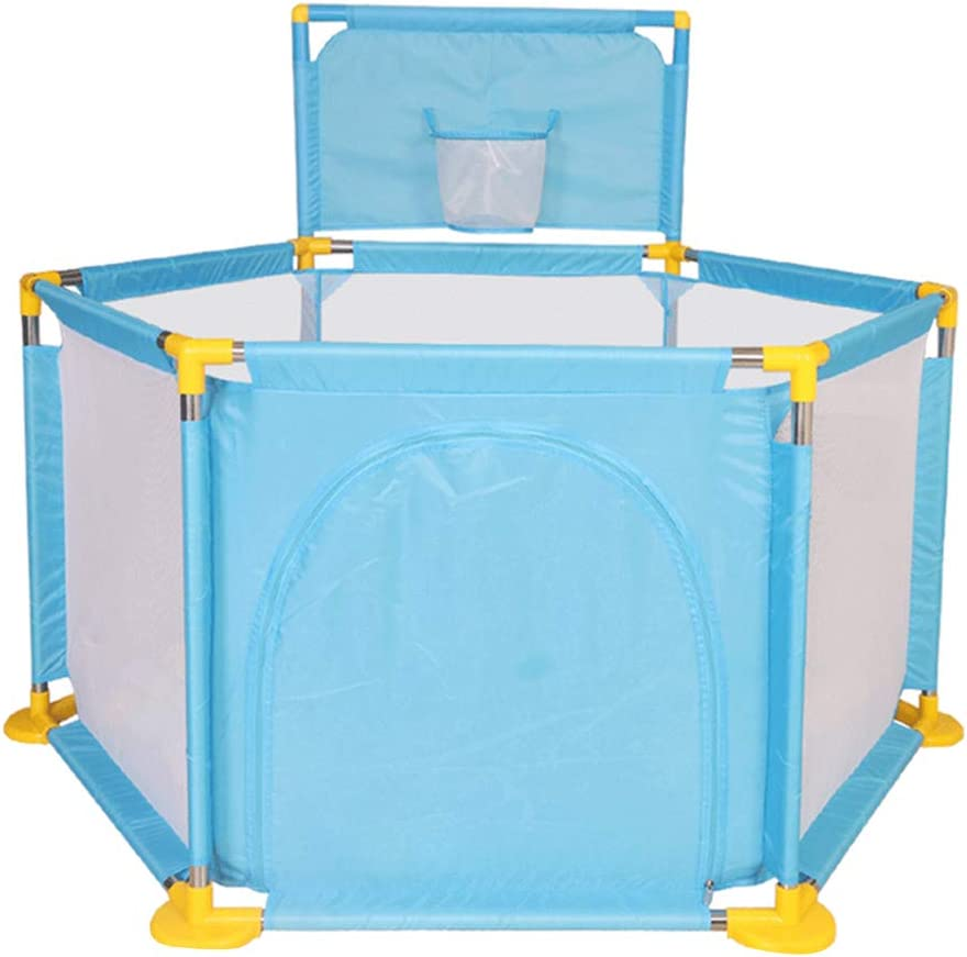 Baby Playpen - Kids Ball Pit Safety Play Yard - Shatter-Resistant Toys House - Toddler Activity Play Centres With Ball Frame (Blue)