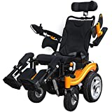 "Foldable Electric Wheelchair Heavy Duty Supports 390 lbs Aircraft Grade Aluminum Alloy Frame More Strength,16"" Inflatable Tires Wheel More Stable"