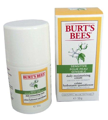 Burt Bees Crème Hydratante Peau Sensible quotidien à l'extrait de coton, 1,8 onces