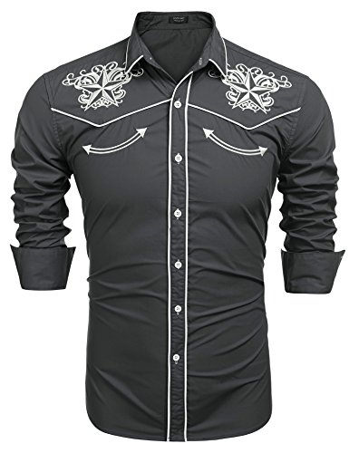 COOFANDY Men's Long Sleeve Embroidered Shirt Slim Fit Casual Button Down Shirts 03-gray Medium