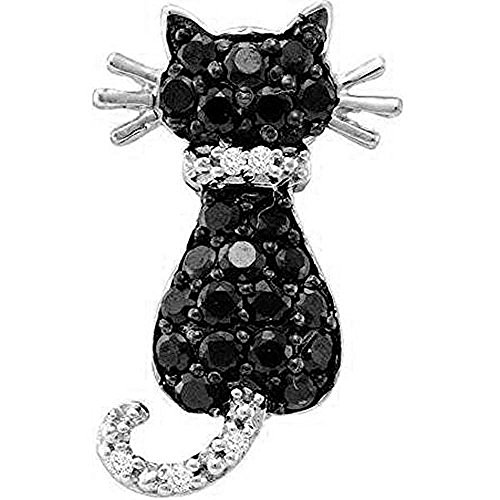 Dazzlingrock Collection 0.40 Carat (ctw) 10K Round Black and White Diamond Cat Pendant (Silver Chain Included), White Gold