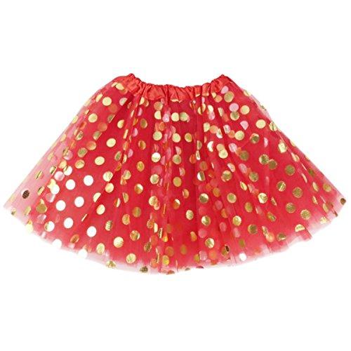 Jastore Baby Girls' Polka Dot Tutu Glitter Ballet Triple Layer Tulle Dance Skirt (3-10 Years, Red) ()