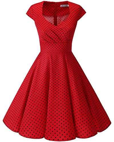Bbonlinedress Women Short 1950s Retro Vintage Cocktail Party Swing Dresses Red Small Black Dot M