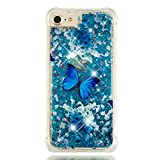 Folice iPhone 6 / iPhone 6S / iPhone 7 / iPhone 8 Case, 3D Cute Pattern Bling Liquid Glitter Hybrid Shockproof Bumper Floating Quicksand Diamond Flowing Clear Soft TPU Case (Blue Butterfly)