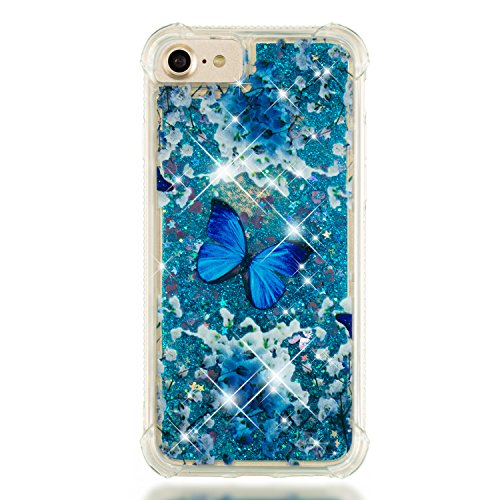 (Folice iPhone 6 / iPhone 6S / iPhone 7 / iPhone 8 Case, 3D Cute Pattern Bling Liquid Glitter Hybrid Shockproof Bumper Floating Quicksand Diamond Flowing Clear Soft TPU Case (Blue Butterfly))