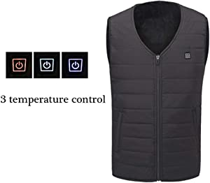 JJDD'G Electric Heated Clothes, Washable Heated Vest, 3 Heating Area, 3 Gear Temperature 25°C/35°C/45°C, USB Charging Heated Clothing for Motorcycle Snowmobile