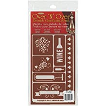 Armour Products Over N Over Glass Etching Stencil, 5-Inch by 8-Inch, Wine Time by Armour