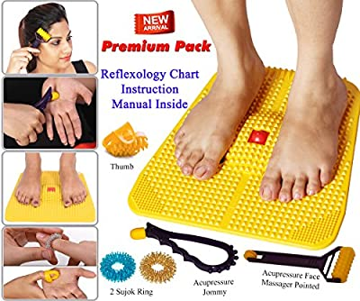Acupressure Power Mat with Magnets n Pyramids for Pain Relief Useful for Heel Pain - Knee Pain - Leg Pain - Sciatica - Cramps - Migraine - Depression With Acupressure Health Care Products - Premium