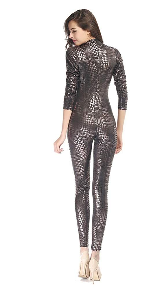 SZGDYF Nightclub Female Hot Dance One-Piece Paint Leather Snake Skin Tight Zipper Latex Uniform